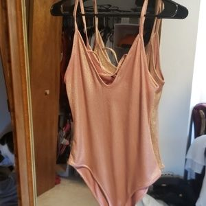 Pink and Gold body suit